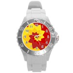 Flower Blossom Spiral Design  Red Yellow Round Plastic Sport Watch (L) Front