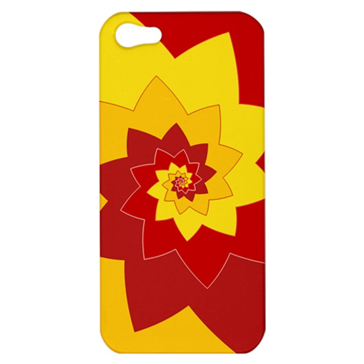 Flower Blossom Spiral Design  Red Yellow Apple iPhone 5 Hardshell Case