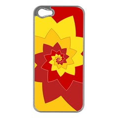 Flower Blossom Spiral Design  Red Yellow Apple Iphone 5 Case (silver) by designworld65