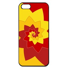 Flower Blossom Spiral Design  Red Yellow Apple Iphone 5 Seamless Case (black)
