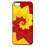 Flower Blossom Spiral Design  Red Yellow Apple iPhone 5 Seamless Case (Black) Front