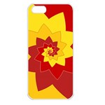 Flower Blossom Spiral Design  Red Yellow Apple iPhone 5 Seamless Case (White) Front
