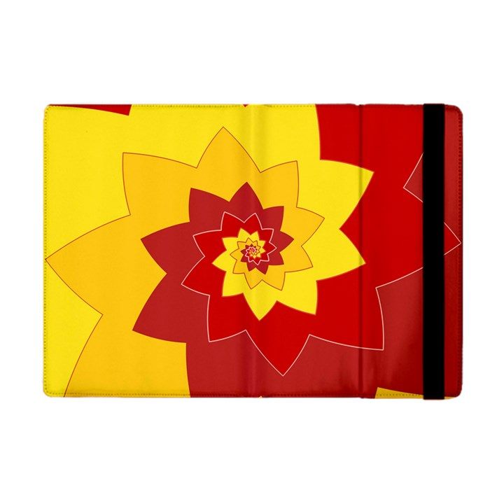 Flower Blossom Spiral Design  Red Yellow Apple iPad Mini Flip Case