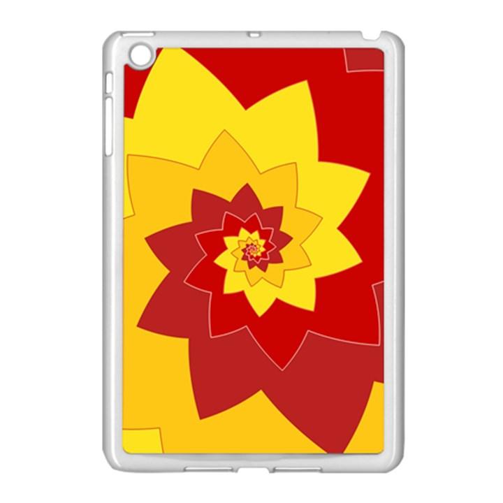 Flower Blossom Spiral Design  Red Yellow Apple iPad Mini Case (White)