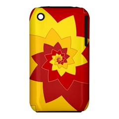 Flower Blossom Spiral Design  Red Yellow Apple Iphone 3g/3gs Hardshell Case (pc+silicone) by designworld65