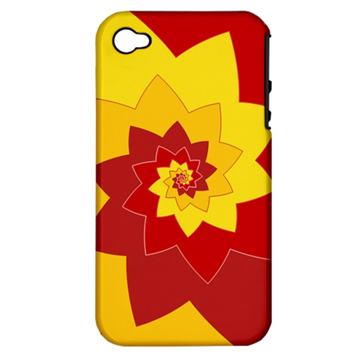 Flower Blossom Spiral Design  Red Yellow Apple iPhone 4/4S Hardshell Case (PC+Silicone)