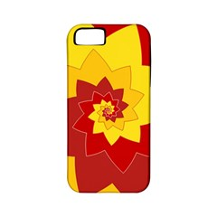 Flower Blossom Spiral Design  Red Yellow Apple Iphone 5 Classic Hardshell Case (pc+silicone)