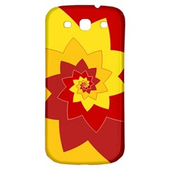 Flower Blossom Spiral Design  Red Yellow Samsung Galaxy S3 S Iii Classic Hardshell Back Case by designworld65
