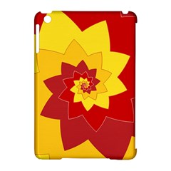 Flower Blossom Spiral Design  Red Yellow Apple Ipad Mini Hardshell Case (compatible With Smart Cover)