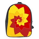 Flower Blossom Spiral Design  Red Yellow School Bags (XL)  Front