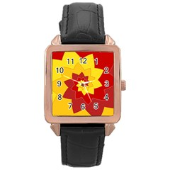 Flower Blossom Spiral Design  Red Yellow Rose Gold Leather Watch  by designworld65