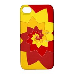 Flower Blossom Spiral Design  Red Yellow Apple Iphone 4/4s Hardshell Case With Stand