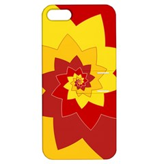 Flower Blossom Spiral Design  Red Yellow Apple Iphone 5 Hardshell Case With Stand by designworld65