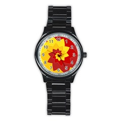 Flower Blossom Spiral Design  Red Yellow Stainless Steel Round Watch by designworld65