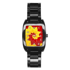 Flower Blossom Spiral Design  Red Yellow Stainless Steel Barrel Watch