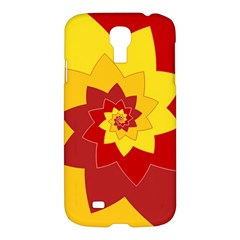 Flower Blossom Spiral Design  Red Yellow Samsung Galaxy S4 I9500/i9505 Hardshell Case by designworld65