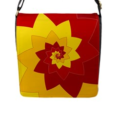 Flower Blossom Spiral Design  Red Yellow Flap Messenger Bag (l)  by designworld65