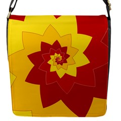Flower Blossom Spiral Design  Red Yellow Flap Messenger Bag (s) by designworld65