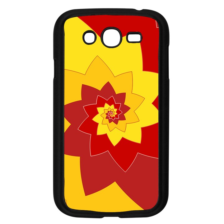 Flower Blossom Spiral Design  Red Yellow Samsung Galaxy Grand DUOS I9082 Case (Black)