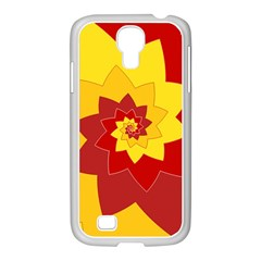 Flower Blossom Spiral Design  Red Yellow Samsung Galaxy S4 I9500/ I9505 Case (white) by designworld65