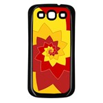 Flower Blossom Spiral Design  Red Yellow Samsung Galaxy S3 Back Case (Black) Front