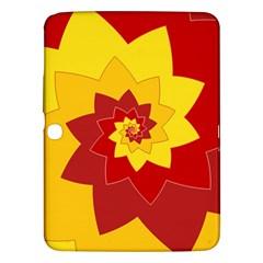 Flower Blossom Spiral Design  Red Yellow Samsung Galaxy Tab 3 (10 1 ) P5200 Hardshell Case  by designworld65