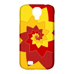 Flower Blossom Spiral Design  Red Yellow Samsung Galaxy S4 Classic Hardshell Case (pc+silicone) by designworld65