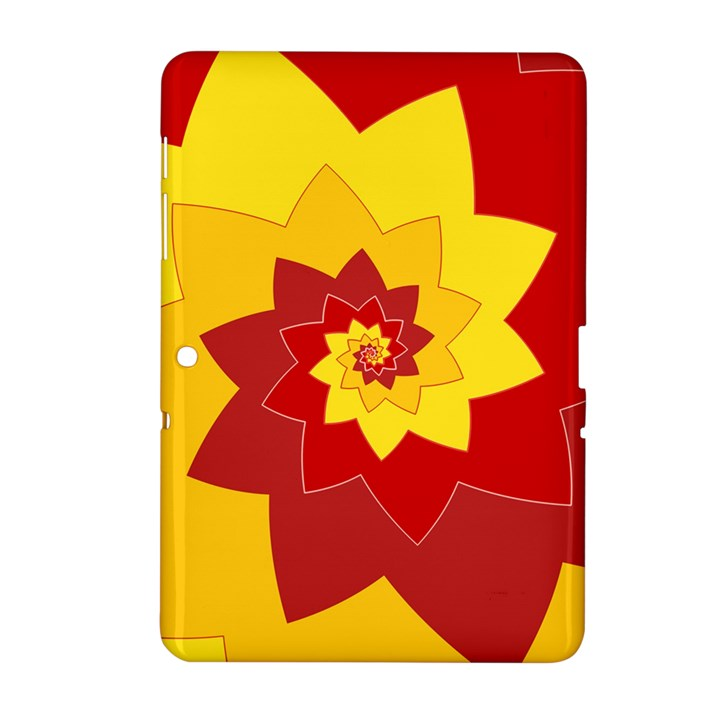 Flower Blossom Spiral Design  Red Yellow Samsung Galaxy Tab 2 (10.1 ) P5100 Hardshell Case