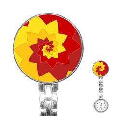 Flower Blossom Spiral Design  Red Yellow Stainless Steel Nurses Watch by designworld65