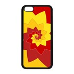 Flower Blossom Spiral Design  Red Yellow Apple iPhone 5C Seamless Case (Black) Front