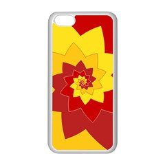 Flower Blossom Spiral Design  Red Yellow Apple Iphone 5c Seamless Case (white) by designworld65