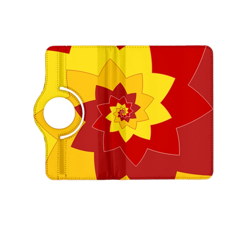 Flower Blossom Spiral Design  Red Yellow Kindle Fire HD (2013) Flip 360 Case
