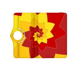 Flower Blossom Spiral Design  Red Yellow Kindle Fire Hdx 8 9  Flip 360 Case