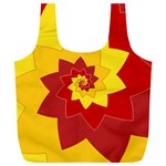 Flower Blossom Spiral Design  Red Yellow Full Print Recycle Bags (L)  Back