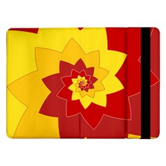 Flower Blossom Spiral Design  Red Yellow Samsung Galaxy Tab Pro 12 2  Flip Case
