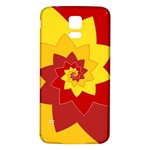 Flower Blossom Spiral Design  Red Yellow Samsung Galaxy S5 Back Case (White) Front