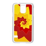 Flower Blossom Spiral Design  Red Yellow Samsung Galaxy S5 Case (White) Front