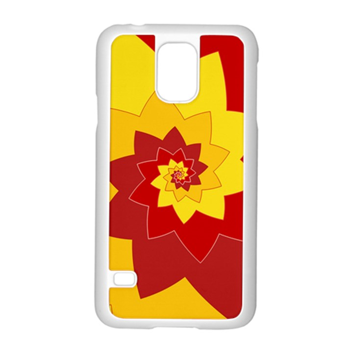 Flower Blossom Spiral Design  Red Yellow Samsung Galaxy S5 Case (White)