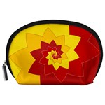 Flower Blossom Spiral Design  Red Yellow Accessory Pouches (Large)  Front