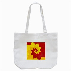 Flower Blossom Spiral Design  Red Yellow Tote Bag (white) by designworld65
