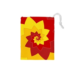 Flower Blossom Spiral Design  Red Yellow Drawstring Pouches (small)