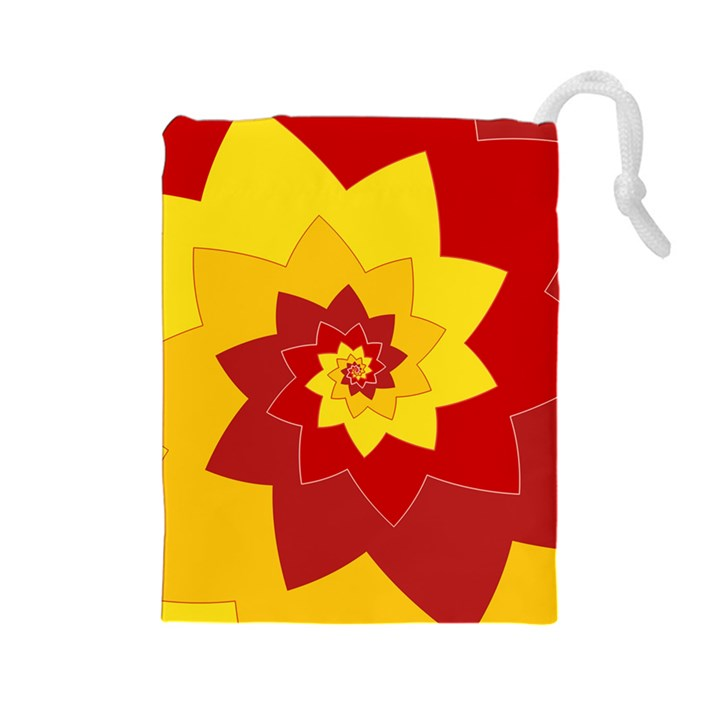 Flower Blossom Spiral Design  Red Yellow Drawstring Pouches (Large)