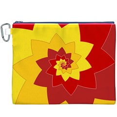 Flower Blossom Spiral Design  Red Yellow Canvas Cosmetic Bag (xxxl) by designworld65
