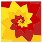 Flower Blossom Spiral Design  Red Yellow Large Satin Scarf (Square) Front