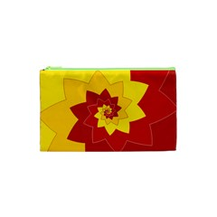 Flower Blossom Spiral Design  Red Yellow Cosmetic Bag (xs) by designworld65