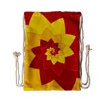 Flower Blossom Spiral Design  Red Yellow Drawstring Bag (Small) Back