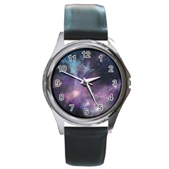Blue Galaxy  Round Metal Watch by DanaeStudio