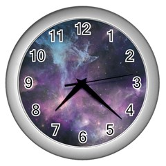 Blue Galaxy  Wall Clocks (silver)  by DanaeStudio
