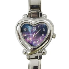 Blue Galaxy  Heart Italian Charm Watch