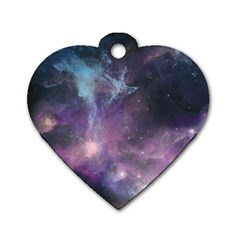 Blue Galaxy  Dog Tag Heart (one Side) by DanaeStudio